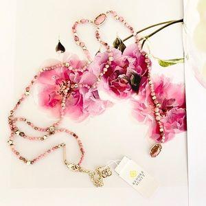 Kendra Scott Bethany Gld Y Necklace Pink Rhodonite